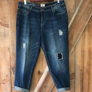 DC jeans distressed capris size 16